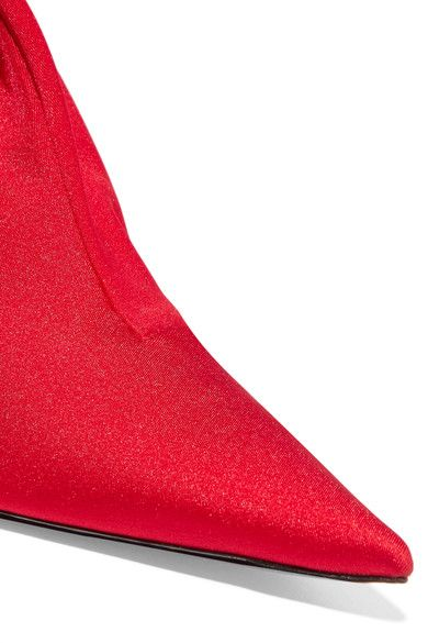 Balenciaga - Stretch-satin Skinny Pants - Red - Waist FR38 / Shoe IT37