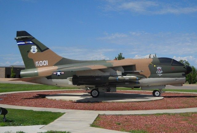 A-7D Corsair, S/N 70001, on display at Buckley Air Force Base, Aurora, Colorado