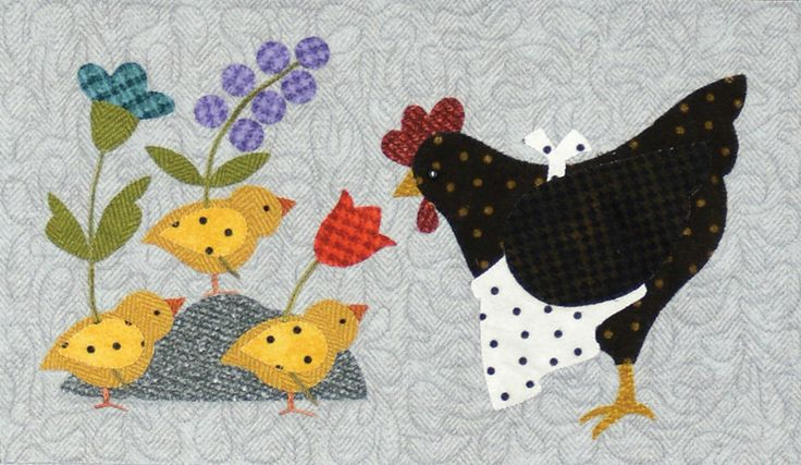 """Here a chick, there a chick, everywhere a chick, chick! This is an absolutely darling 36"""" x 42"""" flannel quilt by Bonnie Sullivan with adorable chicks in each block. This project features appliqué, piecing and simple hand embroidery. All fabrics are flannel and will be exactly as shown.Your program will include: Pre-fused and Pre-Cut Applique pieces! No need to trace, cut out, or turn the edges! All Patterns All Fabrics Buttons Backing is not included but can be added s..."""