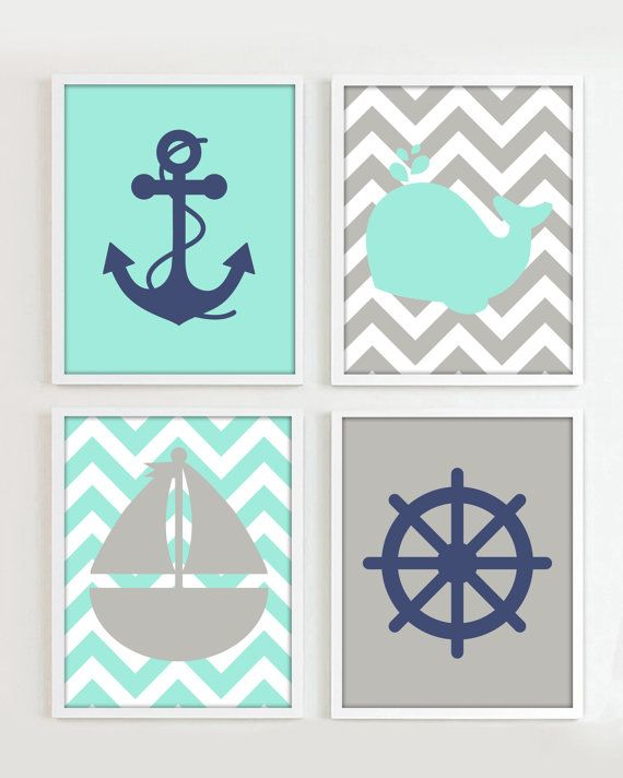"""Nautical Prints - Teal Grey Navy set of 4 8""""x10"""" each - Beach Ocean Sea more colors available R"""