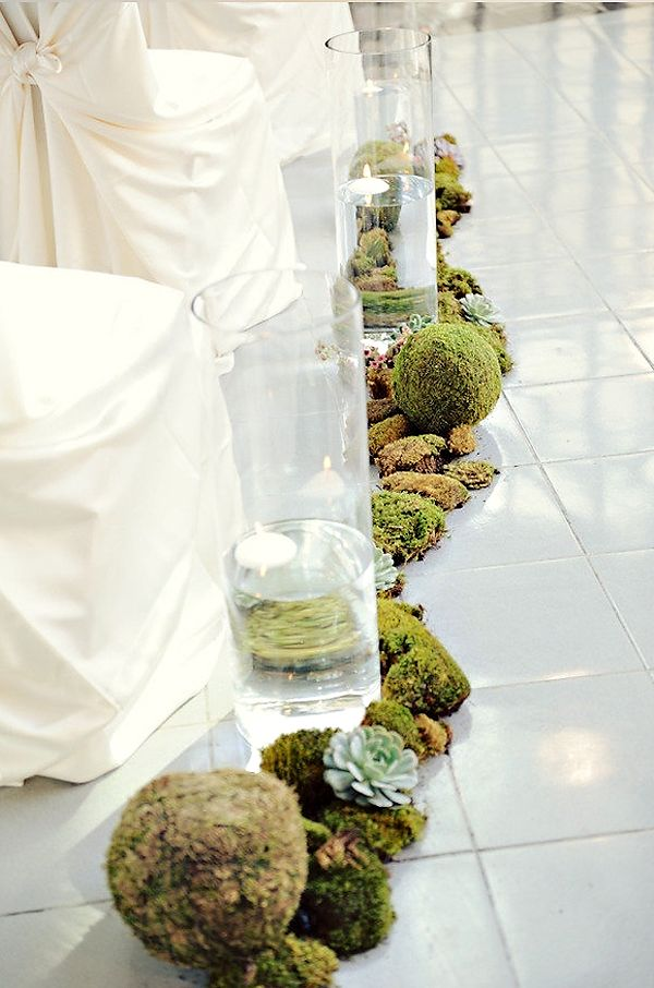 love the moss & succulent wedding ceremony aisle runner