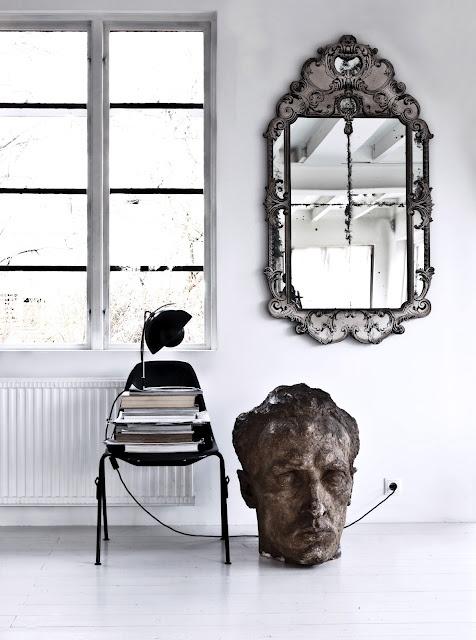 marvellous antique silver mirror
