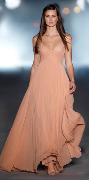 Flowing blush gown. So lovely!