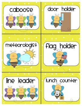 Job Cards for Classroom Job Chart:  BEE THEME