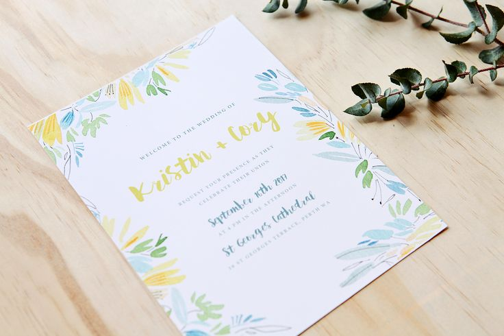 Yellow and blue wedding invites - Tropicana by Wedding and Colour