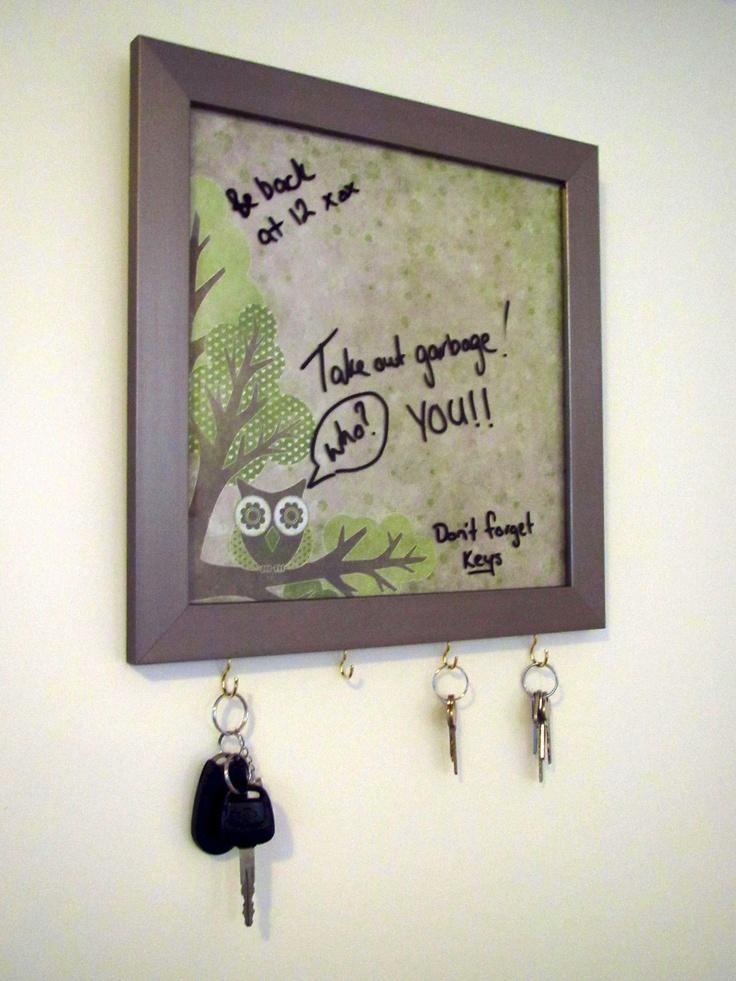 Cute dry erase board and key holder.