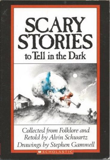 Scary Stories to Tell In the Dark by Alvin Schwartz.  Welcome to the macabre world of Scary Stories, where folklorist Alvin Schwartz offers up the most alarming collection of horror, dark revenge, and supernatural events of all time. Here is a selection of extraordinarily chilling tales along with spine-tingling illustrations by renowned artist Brett Helquist.