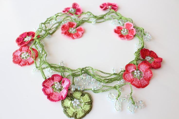 Crochet necklace, Flower Lariat Jewelry, Glass beads necklace, Cherry Blossom, Wrap Necklace by PetyaTwinkles on Etsy
