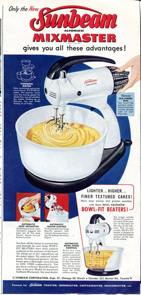 Sunbeam Mixmaster. My mother got hers as a wedding present in 1961 and it finally died around 1989. She was an avid baker and used it several times a week for more than 25 years.