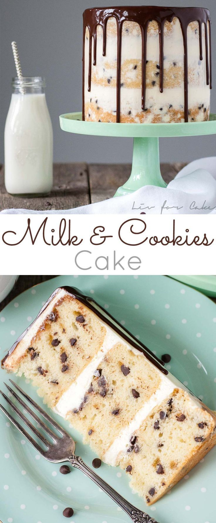 Milk & Cookies Cake! A childhood favorite gets an extreme makeover into this decadent Milk & Cookies Cake! | http://livforcake.com