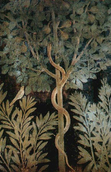 Serpent in fig tree, a Roman fresco from the Casa del Frutteto, Pompeii, 1st century