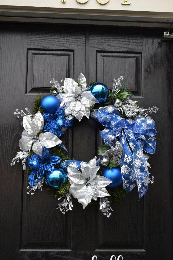 Blue Christmas Wreath by Rincon Corner on Etsy $65.00