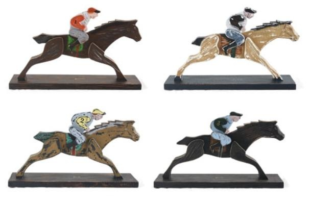 set of 4 wooden jockeys - replicas of pieces to a county fair gameWooden Jockey, Antiques Jockey, Games Replica