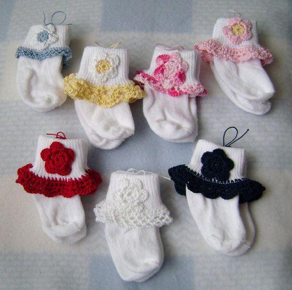 Crochet Lace & Crochet Flower Baby Girl by ...