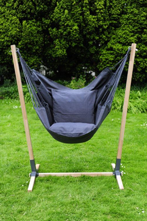 Noa Hanging Chair Stand made of hardwood (Brazilian teak) with NewLine hanging chair in the colour anthracite.