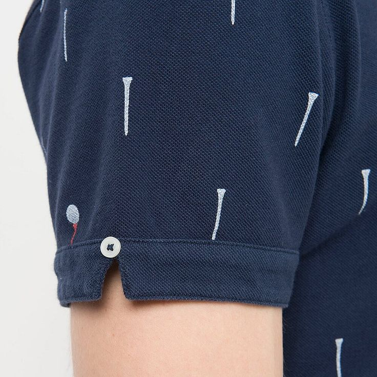 UNIQLO x Michael Bastian MEN MB Washed Short Sleeve Polo Shirt - Detail - Navy Golf Print
