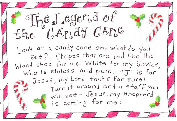 Delicate image with the story of the candy cane printable