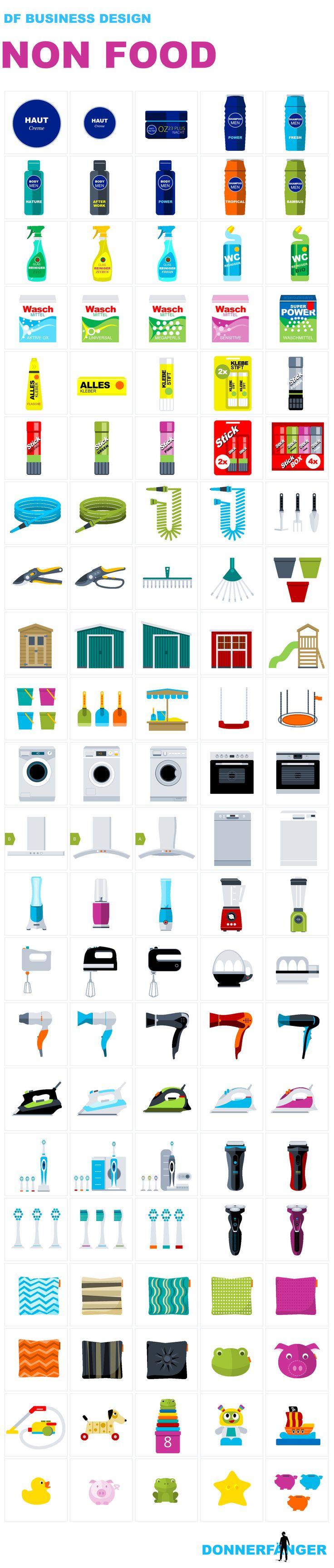 Non Food Products for eCommerce: Flat Design, Created with PowerPoint: Supermarket-Produkte: Hautcreme, Shampoo, Duschcreme, Glasreiniger, Waschmittel, WC, Kissen, Spielsachen, Kind, Hund, Staubsauger, Sparschwein, Gartenhaus, Eimer, Sandkasten, Gartenschlauch, Gartenschere, Blumentopf, Waschmaschine, Backofen, Spülmaschine, Mixer, Smoothie Maker, Eierkocher, Rasierer, Fön, Bügeleisen, Zahnbürste, Donnerfänger