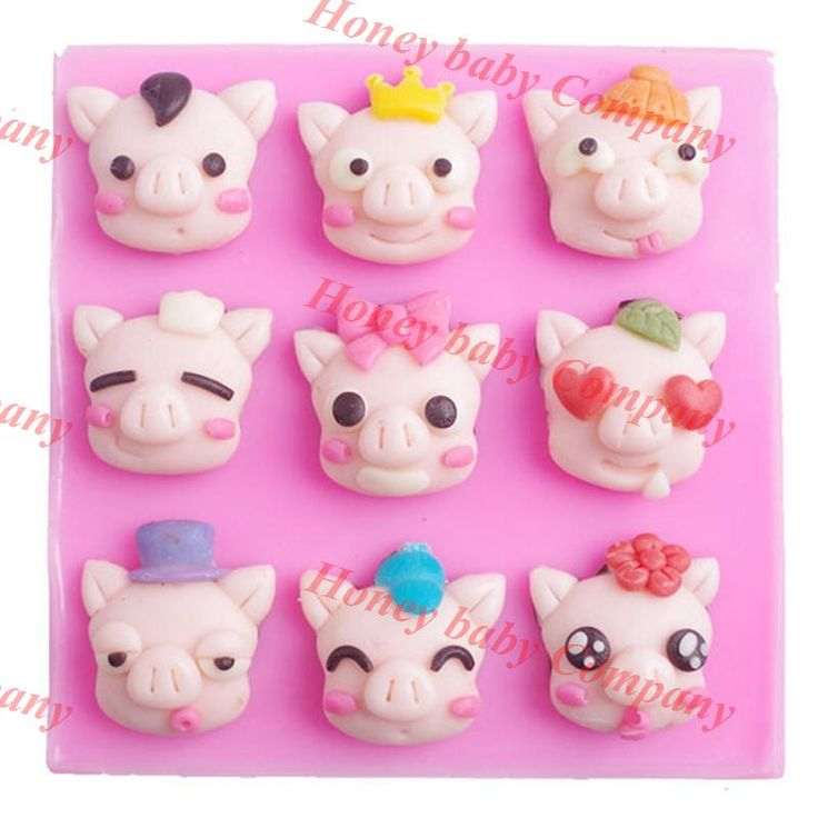 New DIY Cute Multi-face Pig Cake mold baking sugar tool DIY 3d silicone mold cartoon pigs hand soap die chocolate //Price: $8.95 & FREE Shipping //     #hashtag1