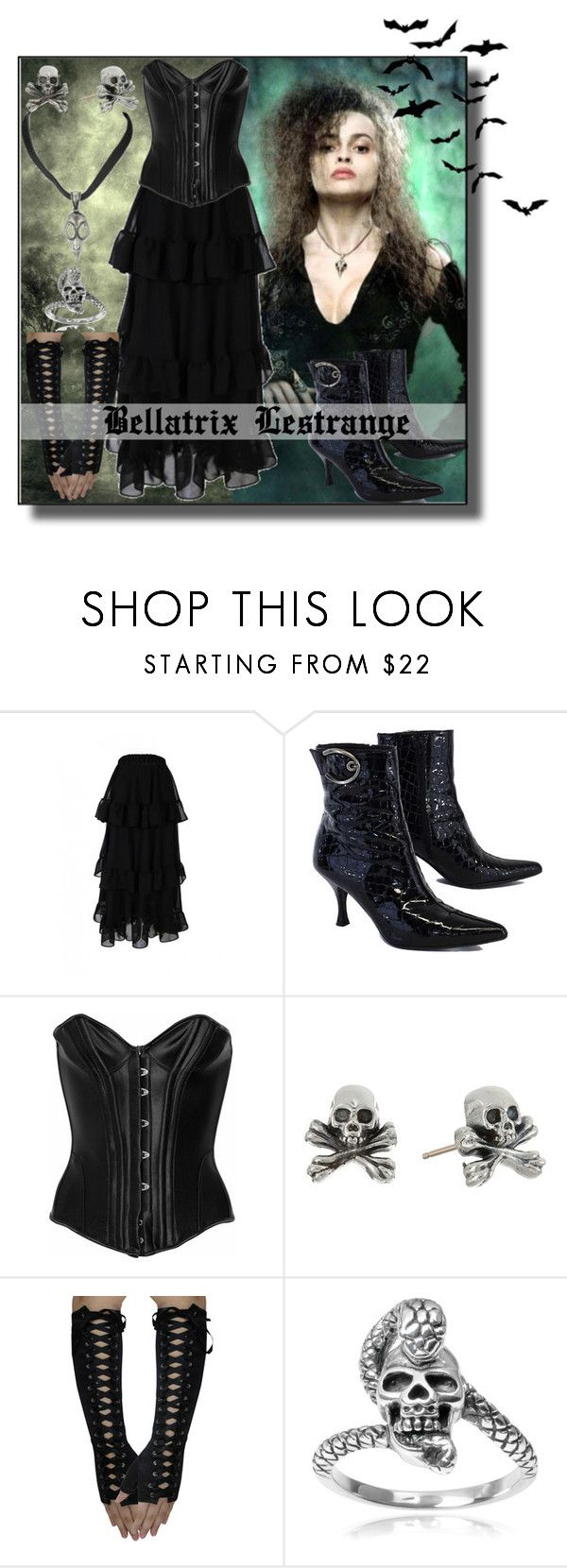 """Gothic Look #Bellatrix Lestrange"" by asiyaoves ❤ liked on Polyvore featuring Stuart Weitzman, Agent Provocateur, King Baby Studio, Tressa, Anger, BellatrixLestrange and WorldGothDay"