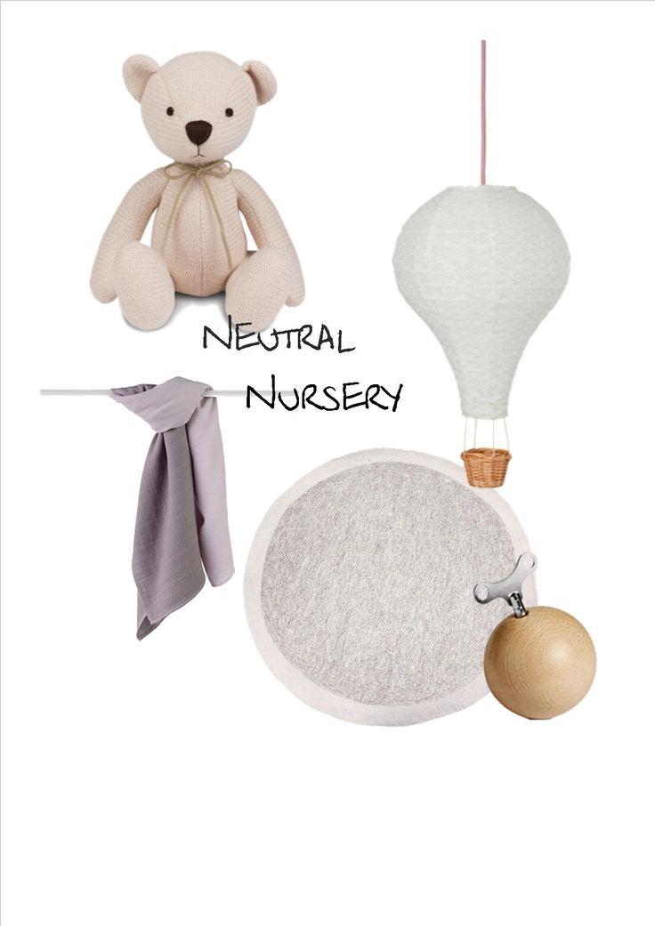 Mood Board Flat Lay for a Neutral Nursery, Silver Cross Teddy Bear, CamCam hot air balloon, AdenAnais Muslin throw.  Styling by Little Nook Interiors