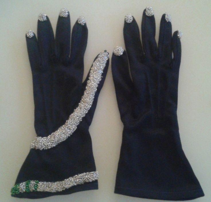 Hand Beaded Platinum Fingernails Navy Gloves Serpentine Edition Sz 6 1/2 XS Small Surrealism by AntiquariumMarket on Etsy https://www.etsy.com/listing/261974997/hand-beaded-platinum-fingernails-navy