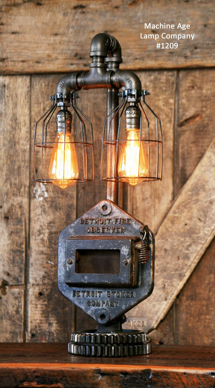New Steampunk Industrial Lamp Stoker Door Detroit SOLD