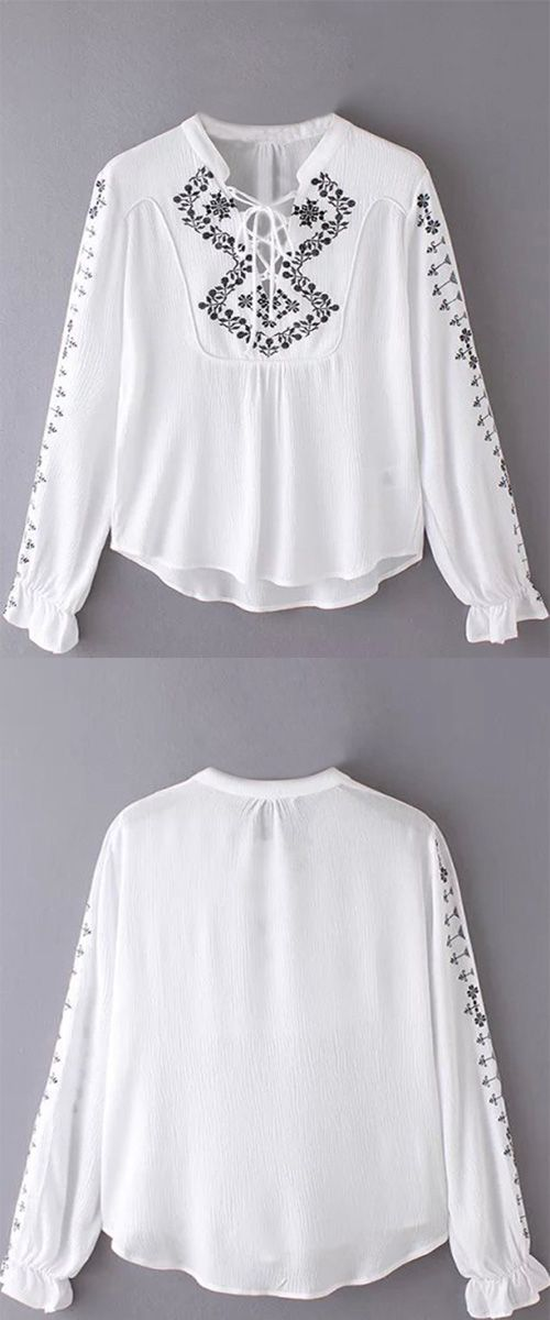Fashion Embroidered Lace Up Blouse#Blouses#Women Blouses#Fashion Blouses#Women…
