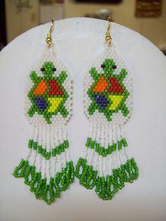 Native American Beaded Green Turtle Pierced Earrings