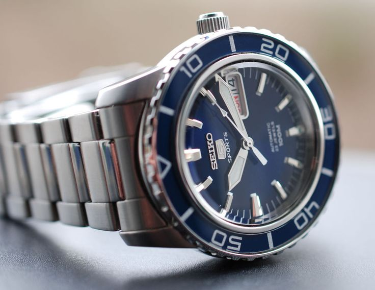 SEIKO 5 Sports Automatic Watch - 100m Diver Submariner Blue Dial - SNZH53 NEW