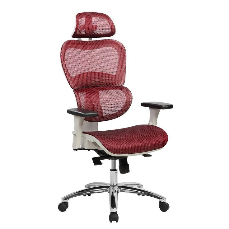 Deluxe High Back Mesh Office Executive Chair With Neck Support Color Red