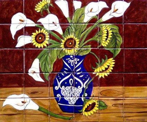 "A rustic tile mural looks pretty on a kitchen wall backsplash, bathroom wall or table-top. Sunflowers and Calla Lilies mural sku 19043 is available in any dimensions. rustic tiles can be also installed in swimming pools, fountains and outside of the buildings. Tile Mural ""Sunflowers and Calla Lilies"" by Rustica House. #myRustica"