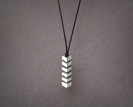Chevron Sterling Silver Pendant, silky cord necklace, Men Pendant Necklace or Women, Geometric Necklace, Hipster Contemporary Jewelry