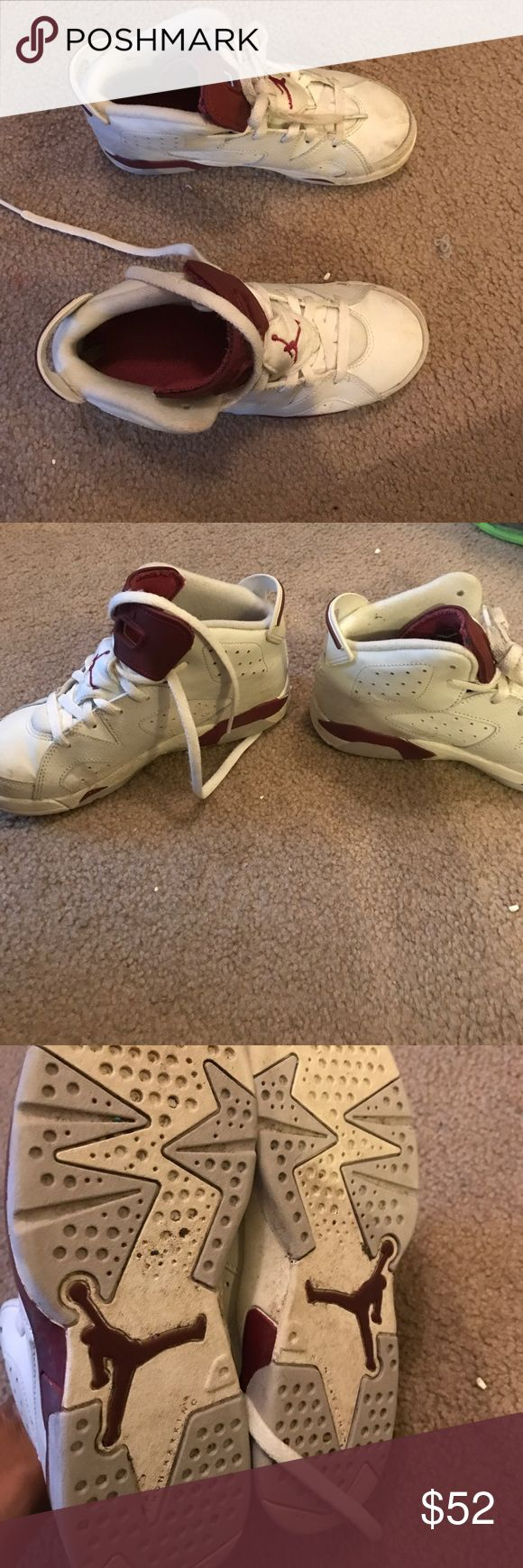 Kids Jordan's retros Kids Jordan's white and Burgundy....good condition needs wiped off that's it!!! Jordan Shoes Sneakers