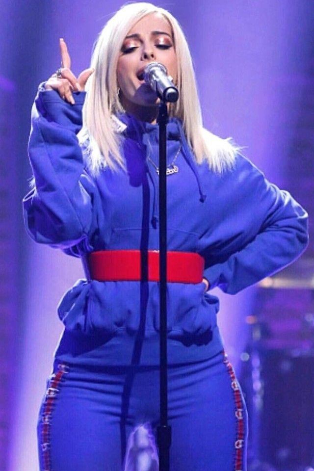 Bebe Rexha wearing  Vetements x Champion Oversized Sweatshirt, Vetements x Champion Track Pant