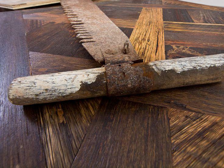 Antique flooring up close.