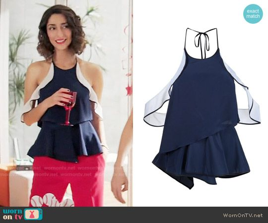 Delia's navy top with ruffle shoulders on Girlfriends Guide to Divorce.  Outfit Details: https://wornontv.net/65690/ #GG2D