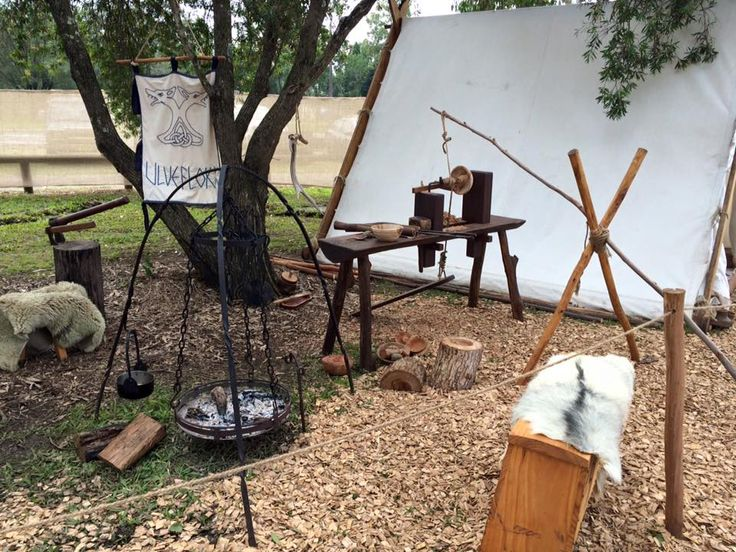 Pole Lathe wood turning - Rognvalds Lith Camp - Viking Village Solstice June 2015, photo by Annie Porter