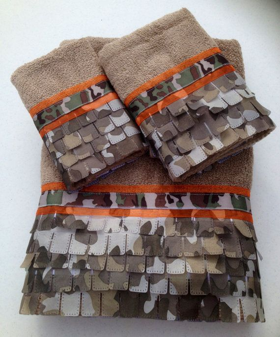 Camo and Neon Orange Bath Towel Set by www.LadyDiBlankets.Etsy.com, $59.99