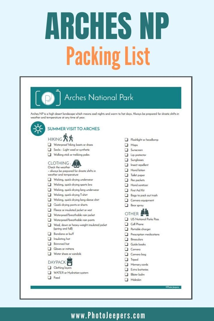 Arches National Park Packing List For Summer And Winter
