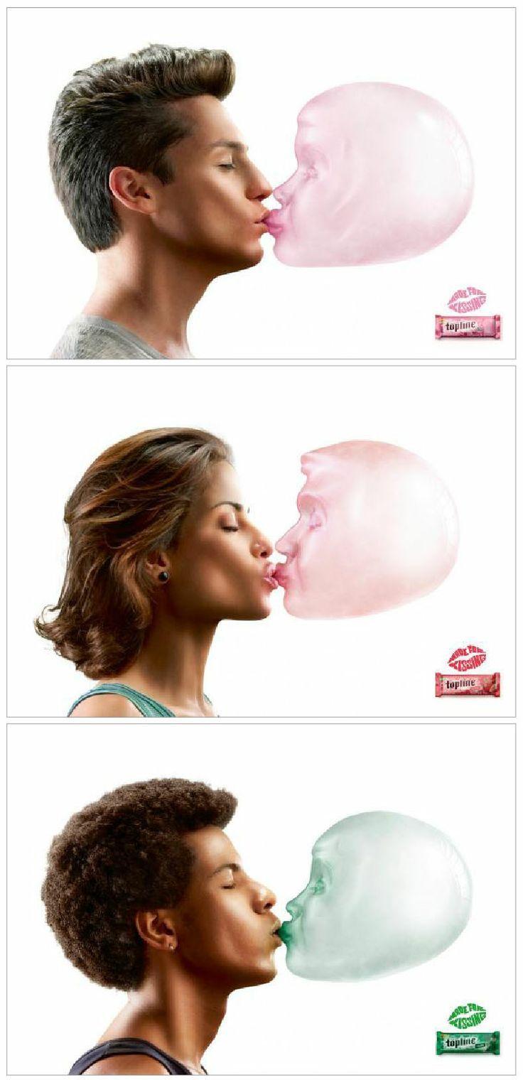 La marque Topline a lancé une campagne print en Amérique du Sud pour leurs nouveaux chewing-gum « Made For Kissing ».