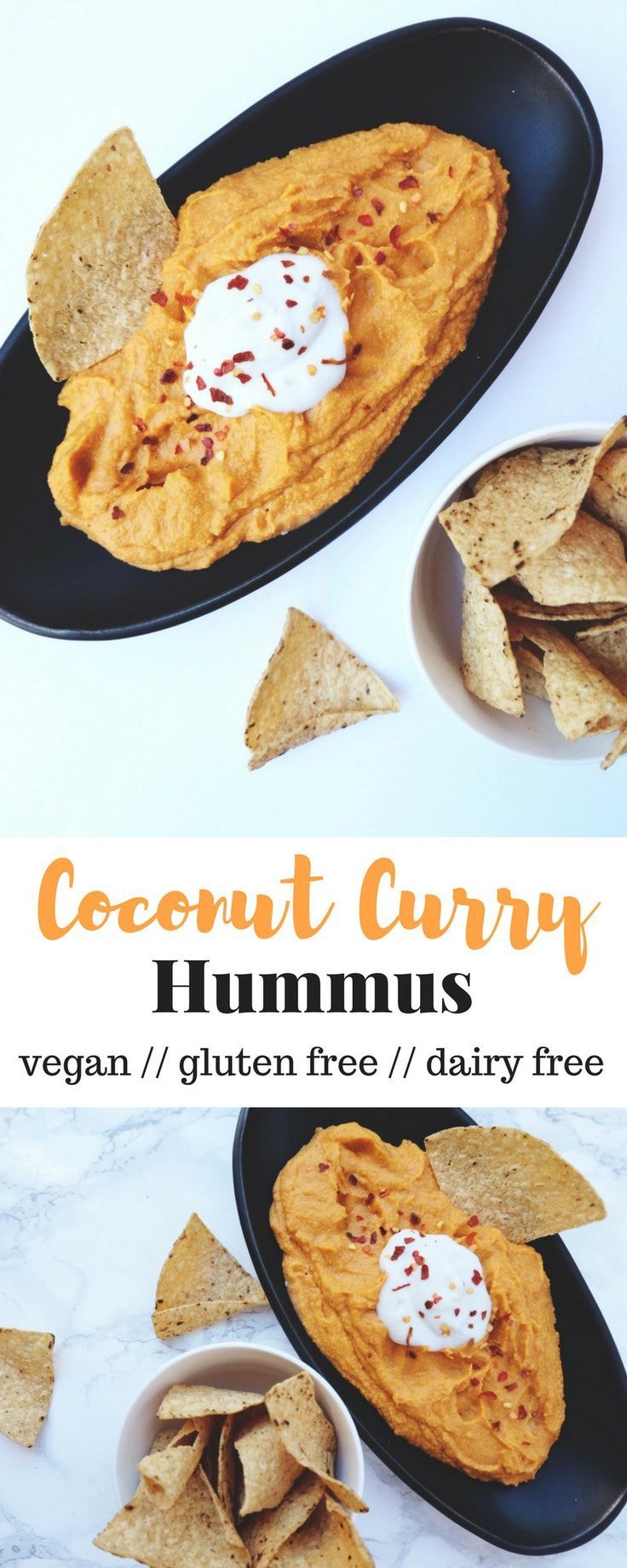 An upgraded version of you favorite dip, this Coconut Curry Hummus is a little spicy and sweet and makes for a delicious creamy, dairy free, and vegan hummus - Eat the Gains
