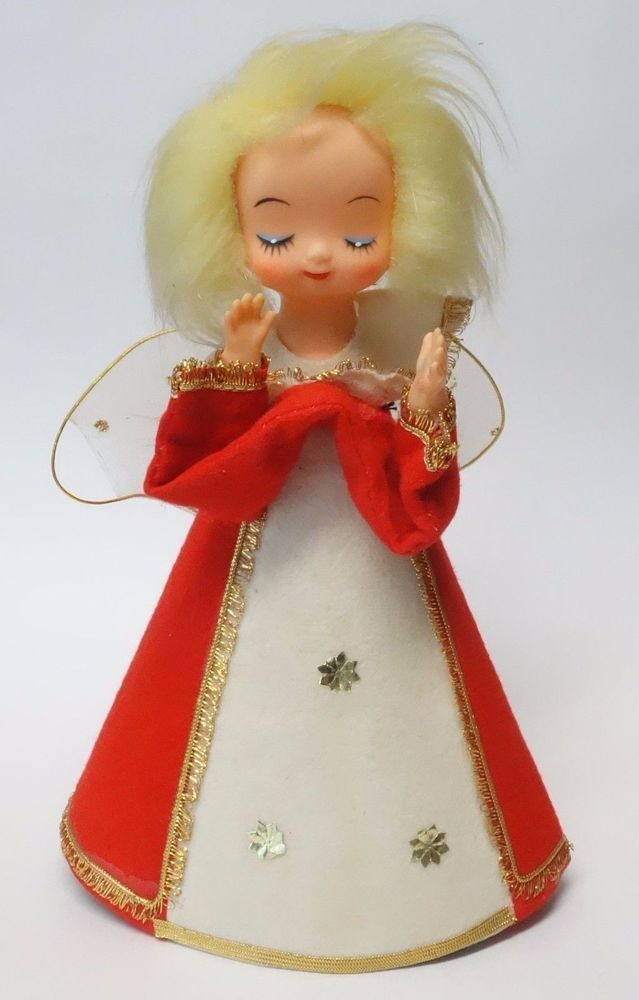 Vintage 9 Christmas Angel Doll Decoration Tree Topper Cardboard