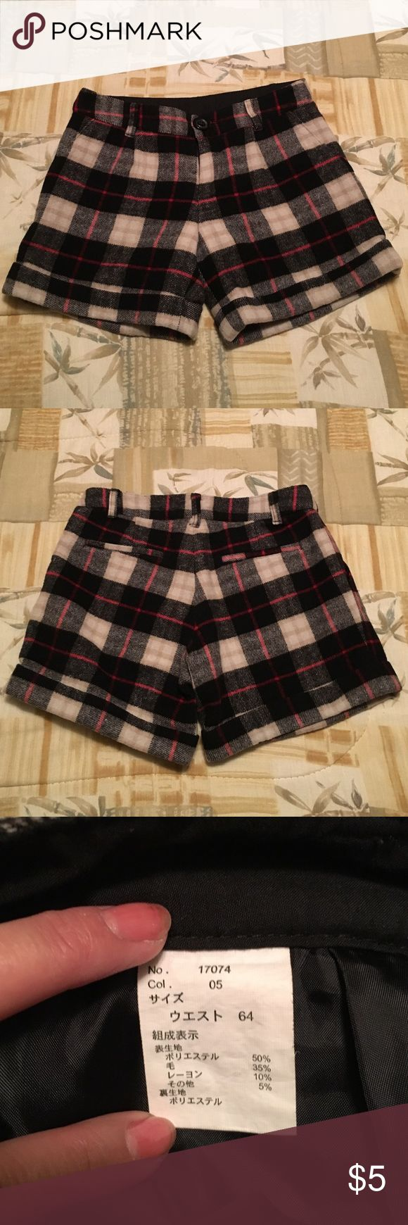 Wool Plaid Shorts Made in Japan Uniqlo Shorts Skorts