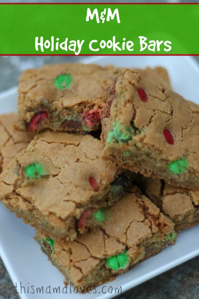 M&M Holiday Cookie Bars