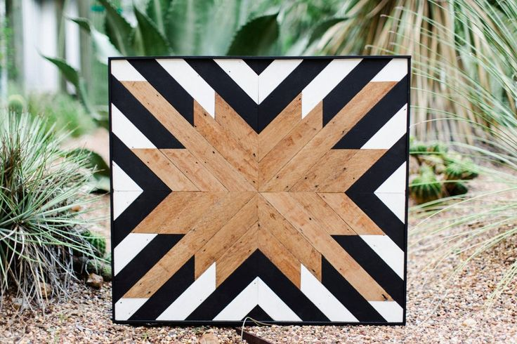 Reclaimed Wood Wall Art, Black and White, Modern Design, Southwestern Style