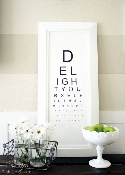 DIY Eye Chart with your own message - by Design, Dining and DiapersThe Lord, Diy Eye, Wall Art, Ideas, Neat Crafts, Painting Wall, Eye Charts, Favorite Quotes, Silhouettes Blog