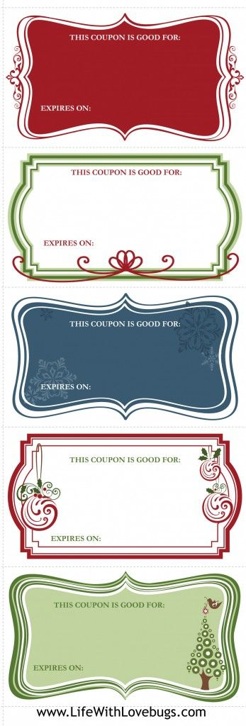 Best Gift Coupon Printables Images On   Holiday Ideas