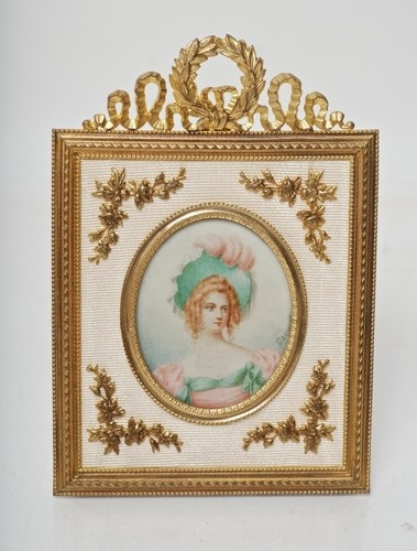 FRENCH ORMOLU FRAME WITH MINIATURE SIGNED PORTRAIT