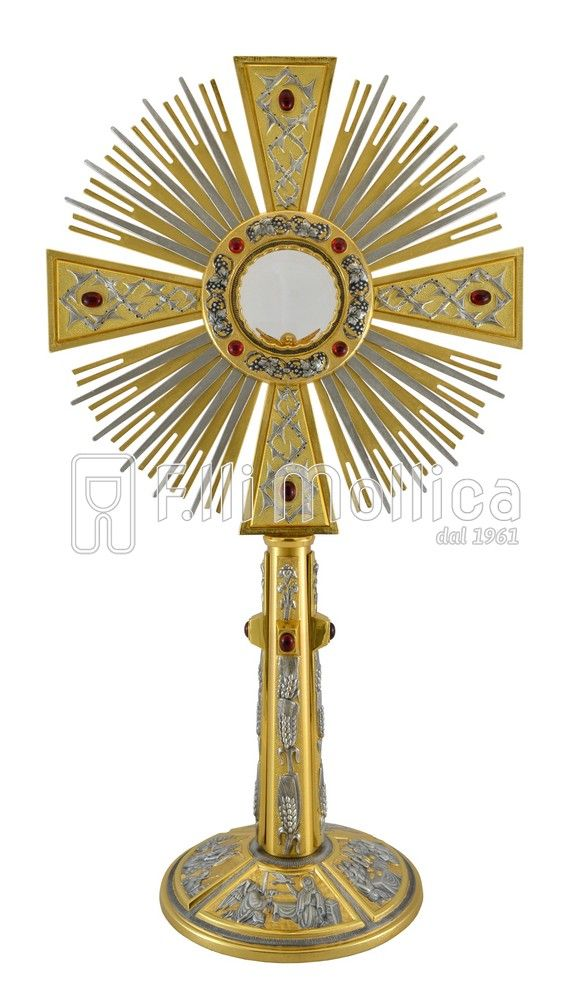 Monstrance with Base with scenes from the life of Christ and Red Stones